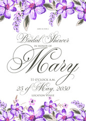 Bridal Shower Invitation with hibiskus flowers