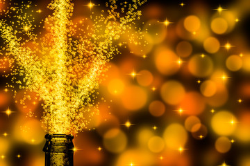 champagne with stars on festive background