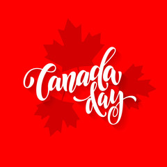 Canada Day card with maple leaf print pattern poster