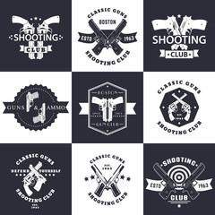 Shooting Club, Guns and Ammo vintage emblems, signs with crossed revolvers, guns, pistols, logo with handguns, vector illustration