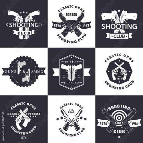 quotshooting club guns and ammo vintage emblems signs with