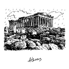 Tuinposter Wit The Parthenon temple on the Athenian Acropolis, Greece. Vector freehand pencil sketch.