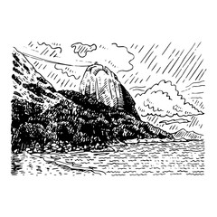 The mountain Sugar Loaf and Guanabara bay in Rio de Janeiro, Brazil. Vector freehand pencil sketch.