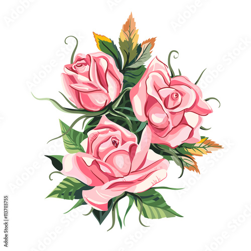 """Pink roses. Wedding drawing. Greeting card. Flower ..."