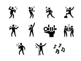 Let's Sing a Karaoke Rock Song Vector Icon Set