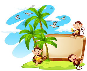 Frame design with monkeys and coconut trees