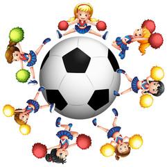 Cheerleaders dancing around soccer ball
