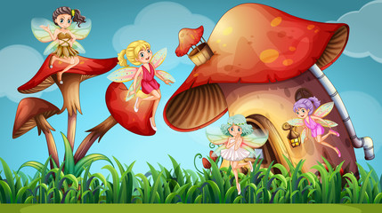 Fairies flying in the mushroom garden