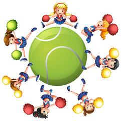 Cheerleaders dancing around tennis ball