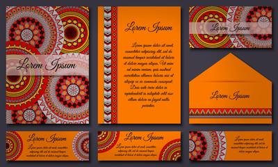 Invitation card collection. Ethnic decorative elements. Islam, Arabic, Indian, ottoman motifs.