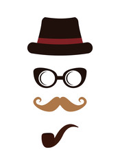 Hat, glasses and mustache icon. Hipster style concept, vector gr