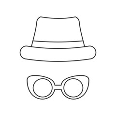 Hat and glasses icon. Hipster style concept, vector graphic