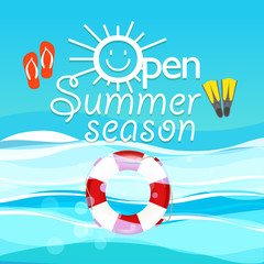 Summer season vacation illustration. Open summer season concept