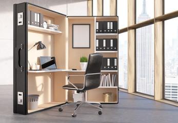 Office workplace inside suitcase