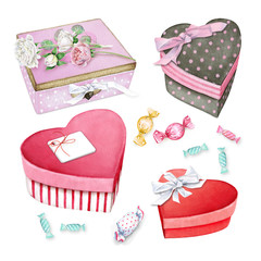 Nice little gift boxes with roses and sweets. Watercolor