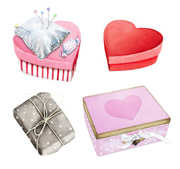 Nice little gift boxes and pin cushion. Watercolor