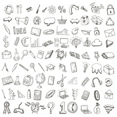 School and office hand drawn set of icons.