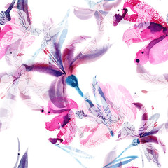 Watercolor Lilies Seamless Pattern