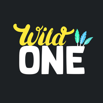 Wild one design for baby tee print. First birthday.