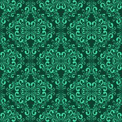 Turquoise seamless damask Pattern.