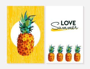 Love summer set with color pineapple fruit element