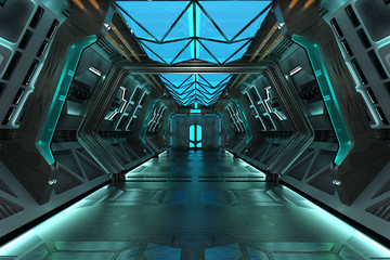 Sci-Fi grunge metallic blue corridor background illuminated with blue neon lights 3d render