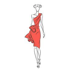 Vector fashion sketch. Model walking on runway in red dress
