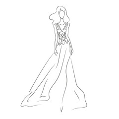 Vector illustration of beautiful woman's silhouette in dress
