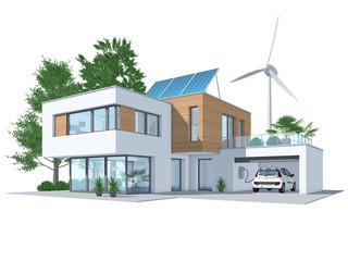 Energieeffizienz-Haus – nachhaltige Energieversorgung: 3d-Illustration