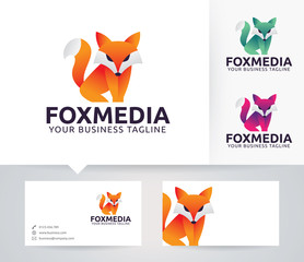 Fox Media vector logo with business card template