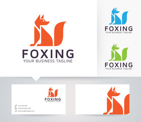 Foxing vector logo with business card template