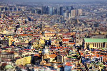 Naples aerial view with Tilt shift effect