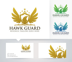Hawk Guard vector logo with business card template