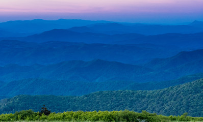 Layers of Blue Ridge Mountains at Sunset