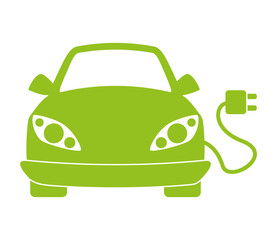 Eco automobile car with plug. Transportation icon. vector graphi