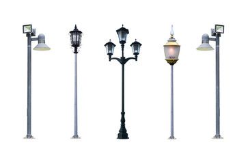lamp post collection. Aet of Old Vintage street lampost set. str Fotomurales