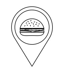 Fast and Street food concept. Eating outside. hamburger icon. Ve