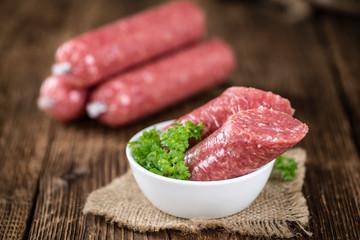 Minced Pork Sausage (German cuisine; selective focus)