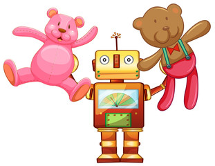 Robot lifting up teddy bears