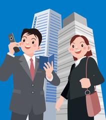 電話をするビジネスマンとビジネスウーマン