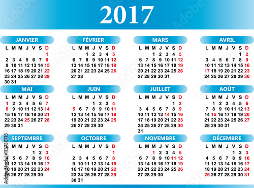 "French calendar 2017 with festivities "" Stock image and royalty-free ..."
