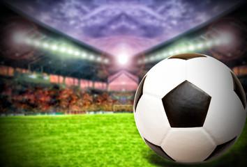 Soccer Ball On Green Field of football stadium and stadium arena