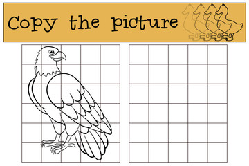 Children games: Copy the picture. Cute bald eagle smiles.