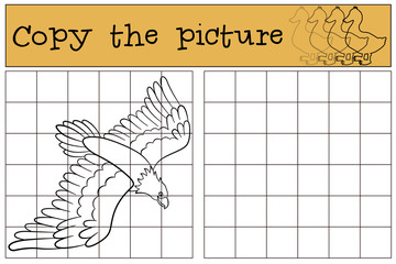 Children games: Copy the picture. Flying bald eagle.