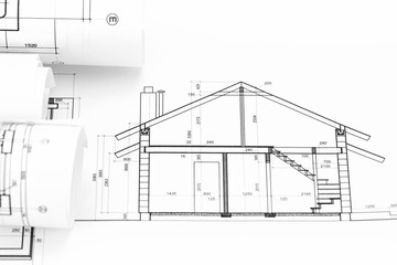 architectural blueprints rolls and house plan