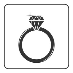 Diamond engagement ring icon. Shiny sparkle crystal sign. Black circle silhouette isolated on white background Flat fashion design element. Symbol engagement, gift, jewel expensive Vector Illustration