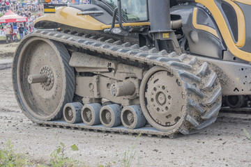 Powerful agricultural crawler tractor on Bizon Track Show