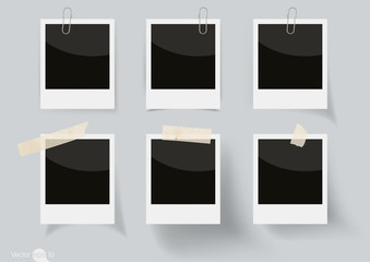 Set of Vector Illustrations of Adhesive Tapes and Paperclip
