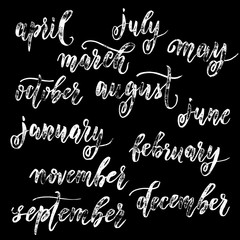 Calendar month lettering grunge calligraphy.