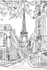Fotobehang Illustratie Parijs Street in paris - sketch illustration concept
